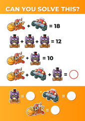 Funny Math. System of equations, a math game for kids.