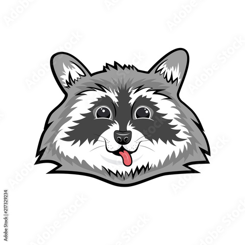 Cute smiling raccoon face  Flat vector illustration