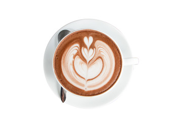 coffee or chocolate latte art in white cup isolate on white background with clipping path.hot drink coffee with milk froth for breakfast.heart shape art foam texture top view.