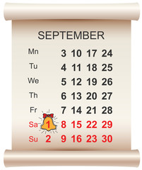 September 1 day of knowledge calendar and bell. First day of school