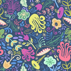 Hand Drawn Seamless Funky Vintage Floral Pattern in Navy, Eggplant, Salmon, Fuschia, Tangerine, and Marigold.