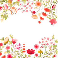 Elegant Hand Painted Pink Red Orange and Yellow Watercolor Floral and Foliage Square Border Frame on white background.