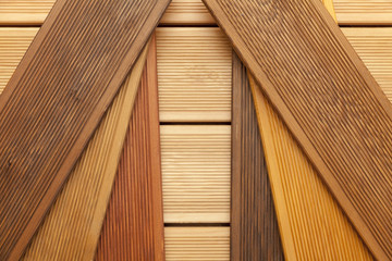 decking samples, wooden background