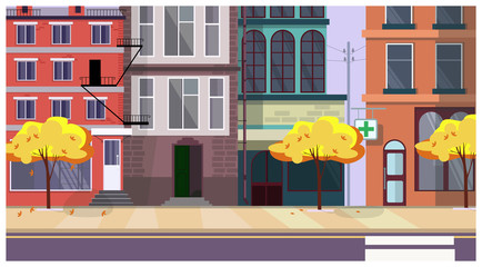 Autumn city street with trees and buildings in background. Cityscape, architecture concept. Flat style vector illustration. For leaflets, brochures, wallpapers, posters or banners.