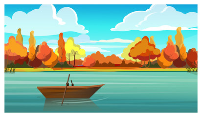 Lake with empty boat and autumn trees in background. Nature, countryside concept. Flat style vector illustration. For leaflets, brochures, wallpapers, posters or banners.
