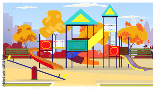 Kids Playground With Playing Equipment Autumn Trees And