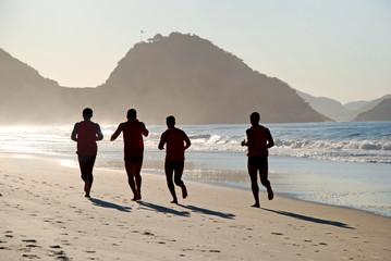 Man running on the Copacabana beach