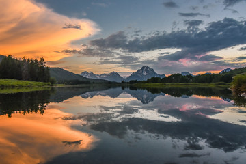 Grand Tetons reflection at sunset