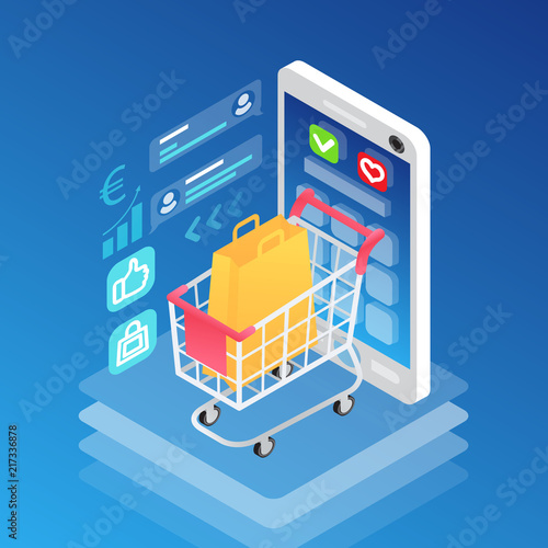 Isometric smartphone and shopping cart with bag  Gadget with