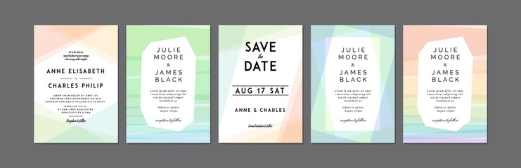 Set of Modern Colorful Wedding Invitations