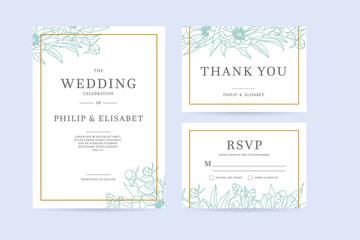 Set of Vintage Wedding Invitation template with peonies