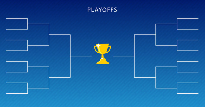 Decoration of playoffs schedule template on blue background. Creative Design Tournament Bracket.