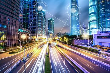 Fotobehang Nacht snelweg technology for smart city conceptual