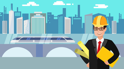 Engineer with folders in his hand with the city and hyperloop on a background. Flat vector illustration.