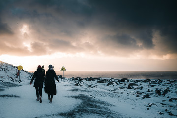 Tourists at Reynisfjara, iceland