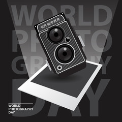 Happy World Photography Day with vintage camera concept