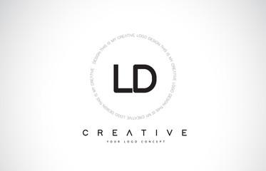 Fototapeta LD L D Logo Design with Black and White Creative Text Letter Vector. obraz