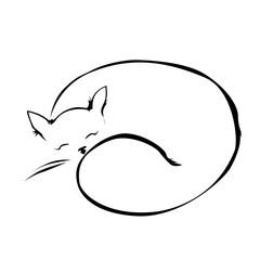 Sleeping cat line vector illustration