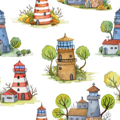 Seamless pattern with cartoon lighthouses, trees and plants. Fairytale landscape. Isolated objects on white background. Hand drawn watercolor illustration