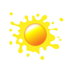 Sun icon with rays out of blot. Sign or logo design with yellow cute sun. Aggregated vector illustration