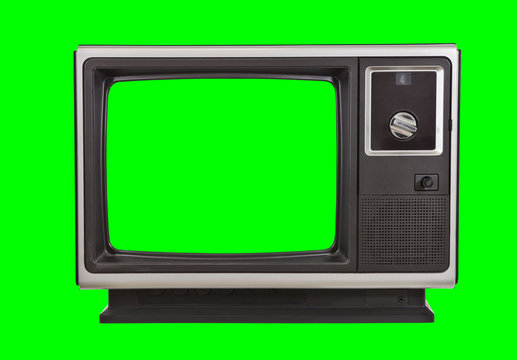 Vintage 1970s television with chroma green background and screen.