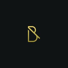 Modern trendy elegant B black and gold color initial based letter icon logo