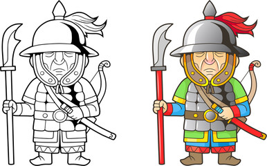 cartoon chinese warrior, funny illustration, coloring book