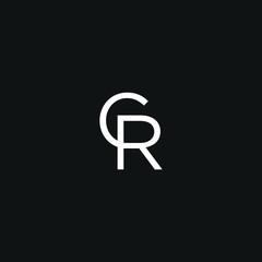 Modern trendy elegant CR black and white color initial based letter icon logo