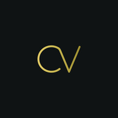Creative unique elegant CV black and gold color initial based letter icon logo