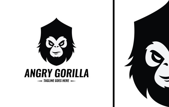 Angry gorilla logo design template. Vector illustration