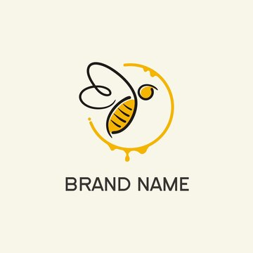 Bee Logo Concept / abstract bee in circle
