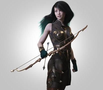 archer warrior woman-3d rendering