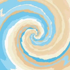 Abstract spiral background in blue, tan, ocher and pale brown