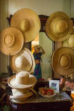 Woven hat display in store