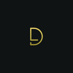 Creative unique elegant DL black and gold color initial based letter icon logo