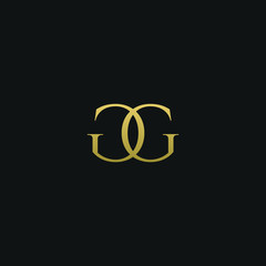 Modern creative elegant GG black and gold color initial based letter icon logo