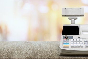 Fototapete - Cash register with LCD display on background