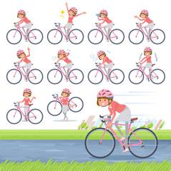 flat type Straight bangs hair women_road bike