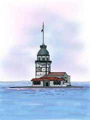 girl tower istanbul / kız kulesi istanbul illustration blue sky and sea