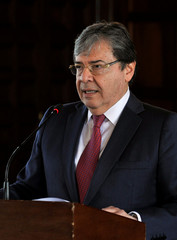 Colombia's Foreign Minister Carlos Holmes addresses the media during a news conference in Bogota