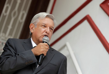 Mexico's incoming President Andres Manuel Lopez Obrador speaks to the media during a news conference at his campaign headquarters in Mexico City