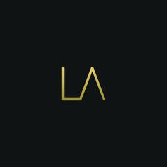 Modern creative elegant LA black and golden color initial based letter icon logo