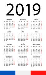 Calendar 2019 - illustration. French version
