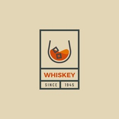 Vintage hipster logo of whiskey glass. Whiskey glass logo design. Vector outline logo of whiskey glass. Beverage design template for restaurants, bars, pubs and companies