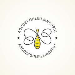 Bee logo / abstract bee in infinity line style with text around the logo