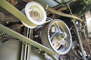 Drive machine belt in work. Belt drive for combine harvester