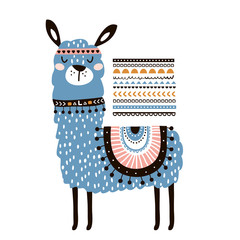 Cute cartoon llama with in tribal style. Childish print for nursery, kids apparel,poster, postcard. Vector Illustration