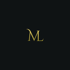 Modern unique elegant ML black and golden color initial based letter icon logo