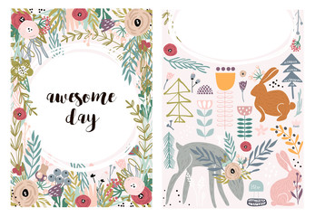 Set of greeting cards with cute animal and forest elements in pastel colors. Floral postcard, invitation and children s party. Vector Illustration