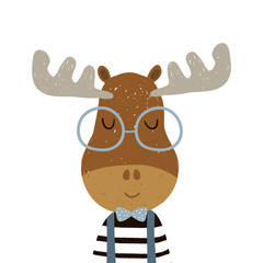 Cute cartoon elk boy character. Childish print for nursery, kids apparel,poster, postcard. Vector Illustration